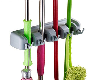 Cinlv Utility Mop Broom Holders Wall-Mounted Garden Tool Rack Garage Storage Organization Hangers 4-Positions 5-Hooks 33.3cm/13.11 inch