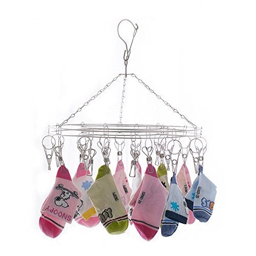 Inoutdoorkit Clip & Drip Laundry Clothes Socks Drying Hanger Stainless Steel 20 Clips for Underwear, Lingerie, Bra, Kids Baby Clothes, Diapers, Towel, Hat, Scarf, Gloves SHR20 (Stainless Steel)