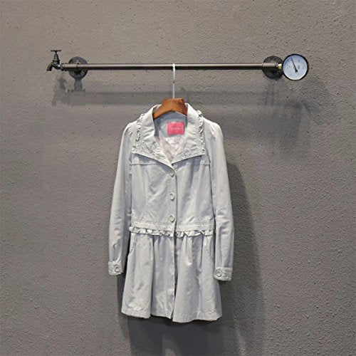 "FURVOKIA Industrial Vintage DIY Pipe Decorative Wall Mounted Shelves Clothes Hanging System, Iron Clothing Rack for Living Room Bedroom Laundry Room?One Pipe Shelves,39"" L?"