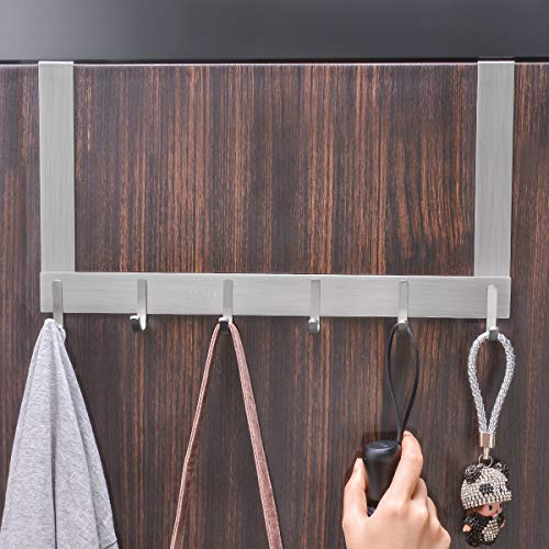 Over The Door Hook, FLE SUS304 Stainless Steel Heavy-Duty Hanger Rack for Coat, Towel, Bag, Robe - 6 Hooks