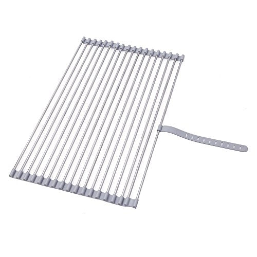 "Stainless Steel Roll-up Folding Drying Rack Colander 20.5"" X 12.5"" Wide w/Built on Hook and Loop Fastening Rack Tie (Polished Stainless Steel Rod)"