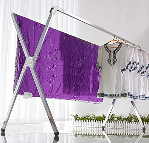Decor Hut Laundry Drying Rack Chrome Foldable Indoor and Outdoor Use Folds Flat Easy Storage