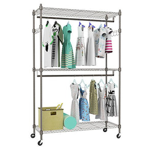 Kemanner Heavy Duty Rolling Garment Rack 3-Tiers Wire Shelving W/Double Rods & Lockable Wheels & 1 Pair Side Hooks - Hold Up to 400Lbs (Gray)