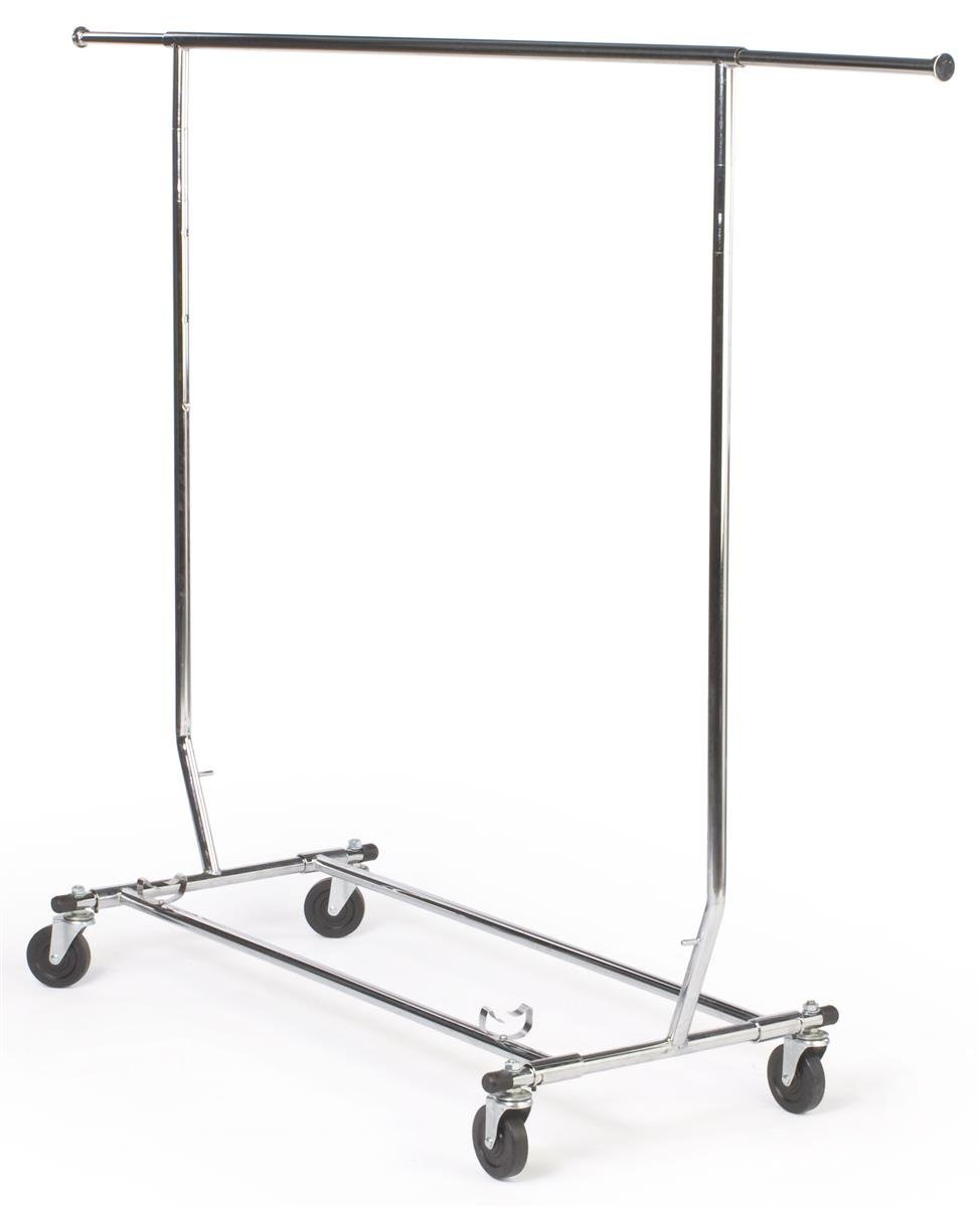 Displays2go Adjustable and Collapsible Rolling Clothes Rack, Chrome Finish