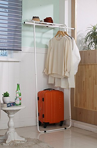 idee Free Standing Leaning Multi-Functional Coat and Shoe Rack, Space-Saving Garment Organizer, EDLR142W