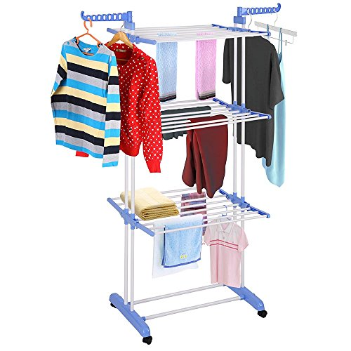 Yeshom Foldable 3 Tier Clothes Drying Rack Rolling Collapsible Laundry Dryer Hanger Stand Rail Indoor Outdoor Blue