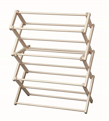 "Saving Shepherd Laundry Drying Rack Collapsible Wood Garment Dryer, 30"" Floor Unit"
