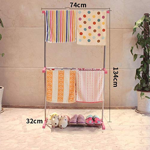 LE Towel Rack,Floor Type Bathroom Drying Rack Mini Single Rod Duty Stainless Steel Clothes Drying Rack Free Punch Simple Drying Rack Cool Hanger G