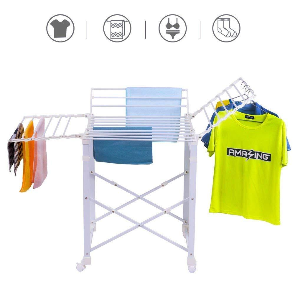 Tangkula Folding Drying Rack Laudry Shelf Heavy Duty Clothes Hanging Rack with Wheels (White 002)