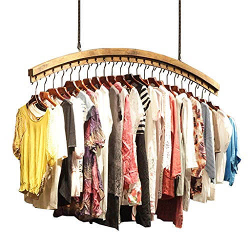 Dika UK Coat Racks Free Standing Wooden Vintage Wall Wooden Ceiling Display Stand Clothes Rack Hanger for Men's Clothing Shop and Women's Clothing Store (Size : 100cm)