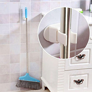 ArtLine Perfect Broom Hanger Utility Rack and General Storage in White Color, Plastic Mop Broom Holder