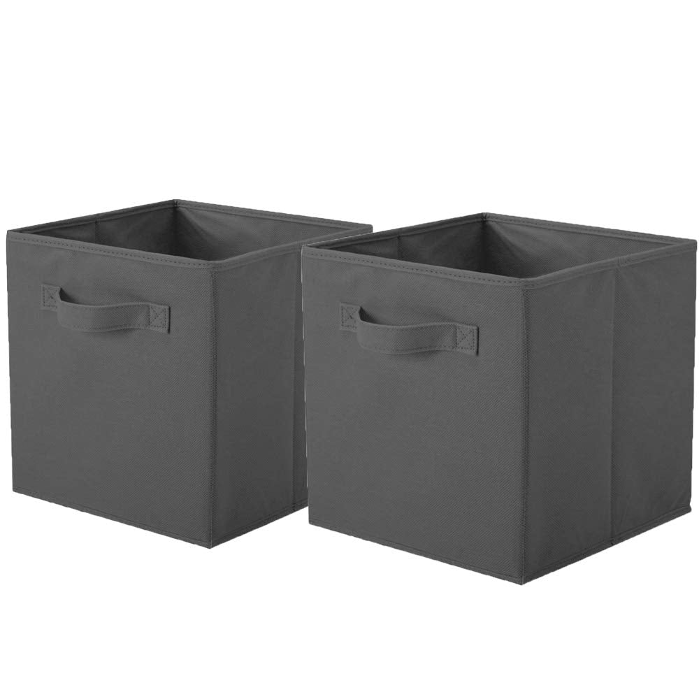 ShellKingdom Storage Bins, Foldable Fabric Storage Cubes and Cloth Storage Organizer Drawer for Closet and Toys Storage,2 Pack(Dark Gray)