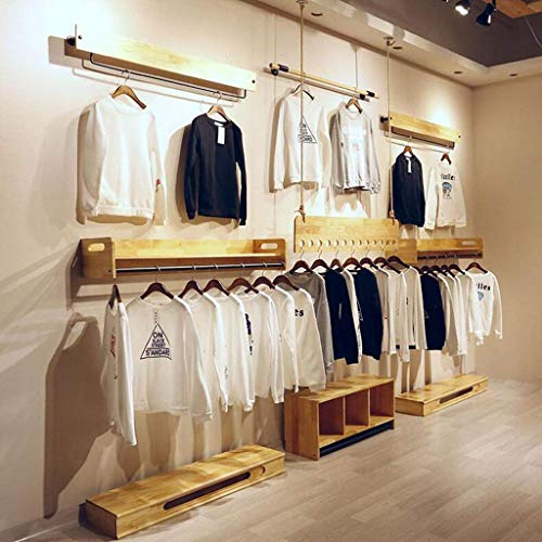 XQY Wooden Household Hangers, Wall Hangers?Hanger 120Cm Clothing Store Hanger Wood Store Clothes Rack/Display Stand/Wall Shelves Rack/Clothes Drying Clothes Rack?Wall Door Back Coat Rack