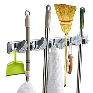 RANRANHONME Mop Rack Clip,Broom Holder and Garden Tool Organizer for Rake Handy Tools,Gray