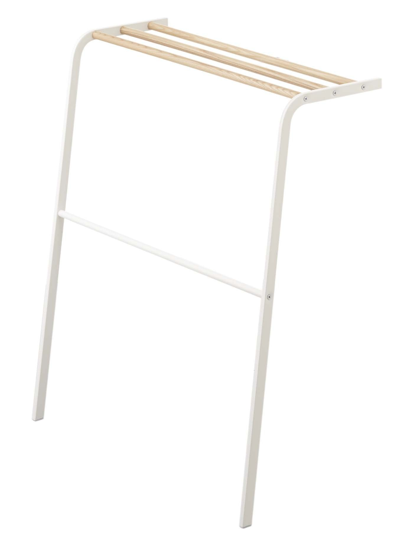 Stainless Steel & Wood Leaning Drying Towel Rack in White Finish