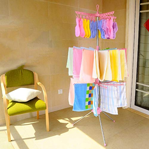 LE Baby Folding Sweater Drying Rack,Home Kids Clothes Hanger Floor Multilayer Newborn Diaper Shelf Foldable Baby Hanger C