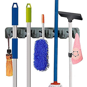 Wall Mounted Mop and Broom Holder, Storage Solutions for Broom Holders Garage Storage Systems Broom Organizer and Stainless Steel Hook (Gray)