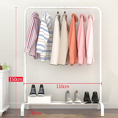 "lililili Clothing garment rack,Heavy duty Commercial Grade Clothes Stand rack With top rod and lower storage shelf for boxes shoes boots,Floor standing multifuctional hanger-C 43""Wx15.7""Dx59""H"