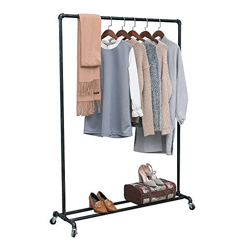 MBQQ Industrial Pipe Clothing Racks on Wheels,Heavy Duty Garment Racks Commercial Grade,Vintage Rolling Ballet Rack Clothes Display Rack Retail Display