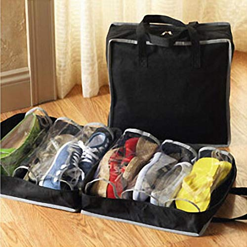 Quaanti 6 Slots Portable Shoes Travel Storage Bag Zipper Dustproof Shoes Organizer Tote Pouch Outdoor Slippers Carrier Holder (Black)