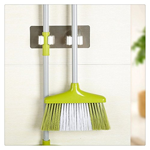 Hmlai Mop and Broom Holder, 2 Position Multipurpose Wall Mounted Organizer Storage Hooks,Ideal Broom Hanger for Kitchen Garden and Garage