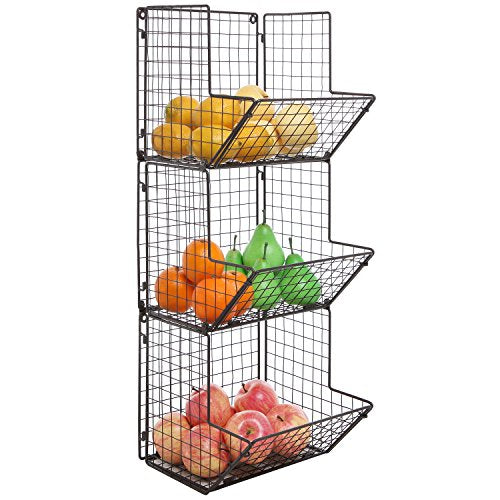 MyGift Rustic Brown Metal Wire 3 Tier Wall Mounted Kitchen Fruit Produce Bin Rack/Bathroom Towel Baskets