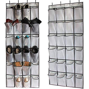 VuHom Over The Door Shoe Organizer Pockets Holder Hanging Mesh Storage Bag (White)