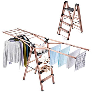Rackaphile Clothes Drying Rack, 2 in 1 Laundry Drying Rack Step Ladder Aluminum Folding Drying Racks for Laundry Heavy Duty Foldable Clothing Drying Rack Indoor Outdoor