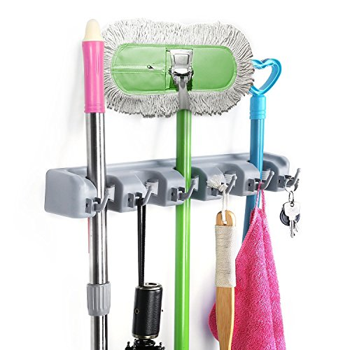 CONRUSER Mop and Broom Holder, Multipurpose Wall Mounted Organizer Tool Storage Systems, Ideal Broom Hanger for Kitchen Garden Garage and Warehouse?5 Position 6 Hooks, Gray?