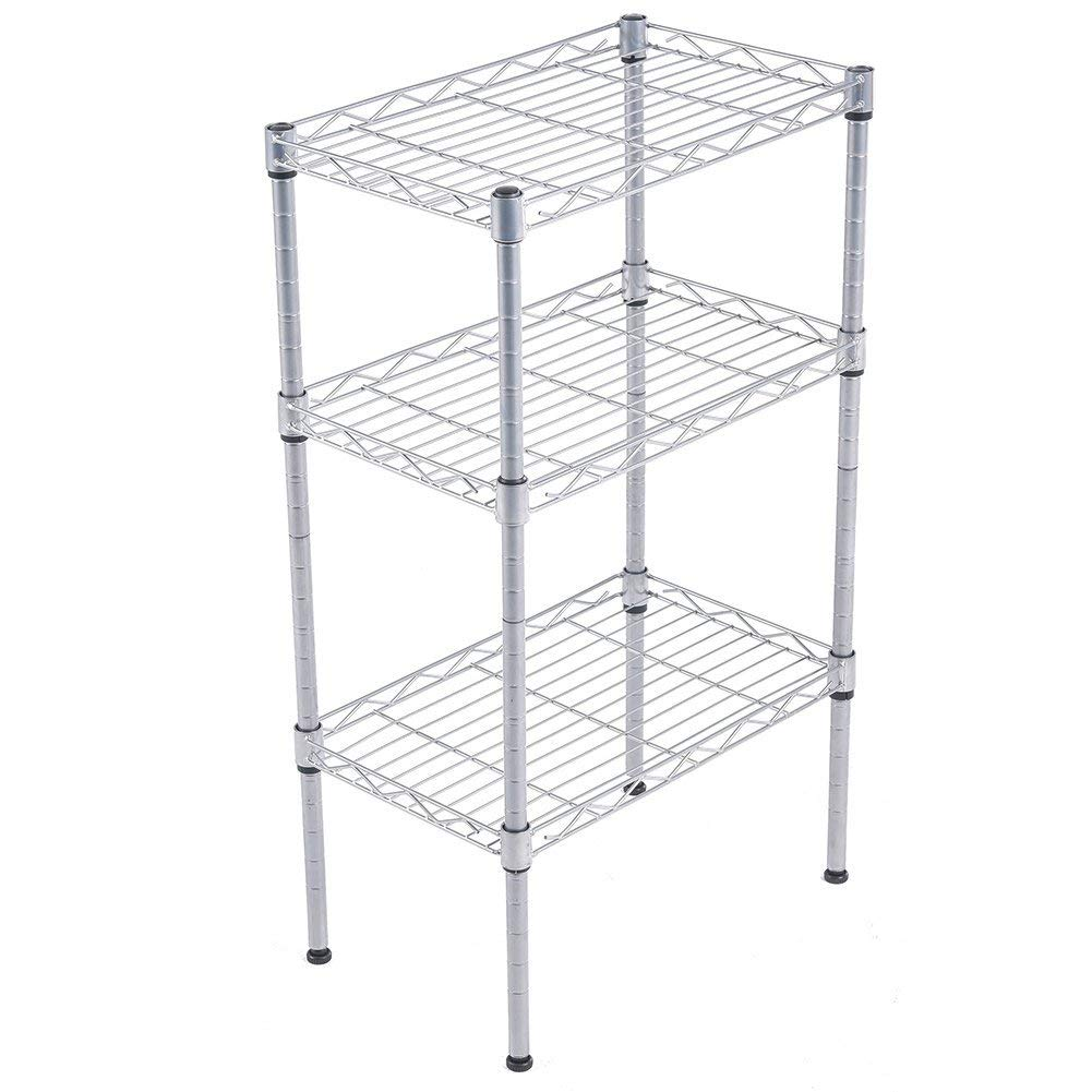 JS HOME 3-Tier Wire Shelving Rack with S Hooks and Extra Shelf Liner, Chrome