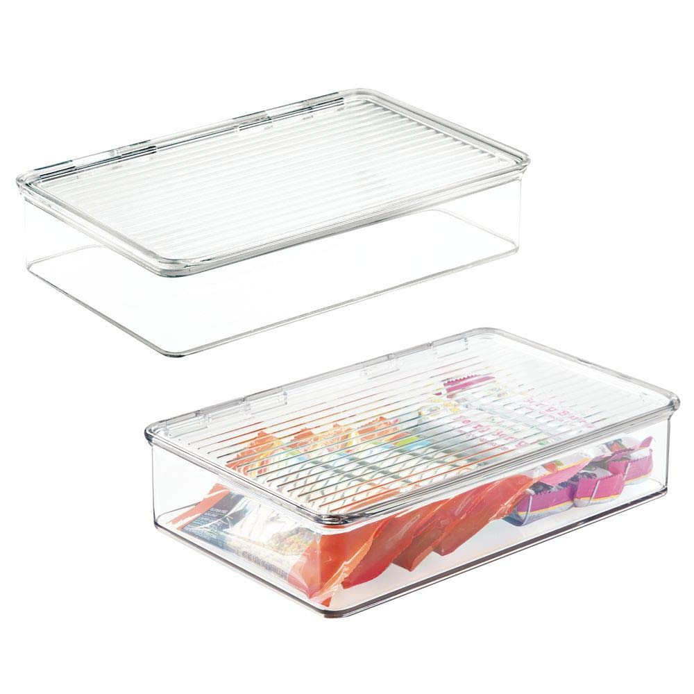 mDesign Stackable Kitchen Pantry Cabinet or Refrigerator Storage Organizers, Attached Hinged Lids - Compact Bins for Pantry, Refrigerator, Freezer - BPA Free, Food Safe - Pack of 2, Clear