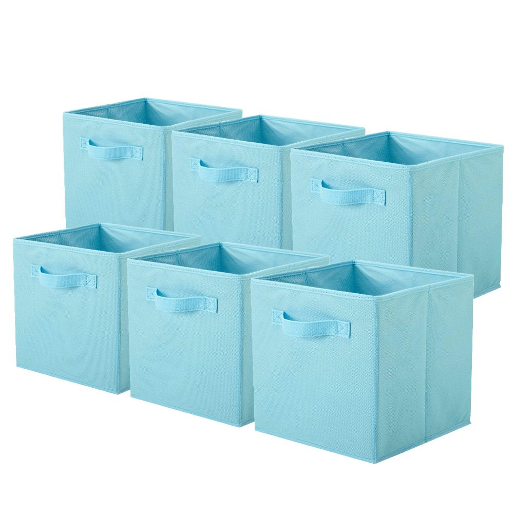 ShellKingdom Storage Bins, Foldable Fabric Storage Cubes and Cloth Storage Organizer Drawer for Closet and Toys Storage,6 Pack(Blue)