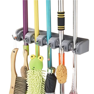 VICKMALL Mop and Broom Holder Non-slip Auto Adjustable Positions With Hooks for Wall and Closet Mounted Hanger, Rakes, Garden, Sports Garage Equipment Storage Solutions Organiser( 5 Postion 6 Hooks)