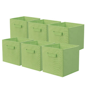 ShellKingdom Storage Bins, Foldable Fabric Storage Cubes and Cloth Storage Organizer Drawer for Closet and Toys Storage,6 Pack(Green)