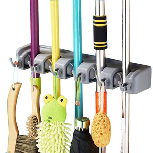 LingStar Mop and Broom Holder Organizer Wall Mounted Hanger with 5 Ball Slots and 6 Hooks, Key Rack Towel Hooks