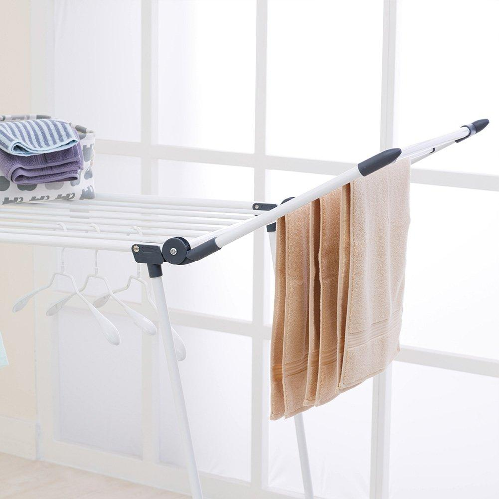 YUBELLES Gullwing Multipurpose Clothes Drying Rack, Dark Grey Rustproof Collapsible Stable Durable Laundry Rack