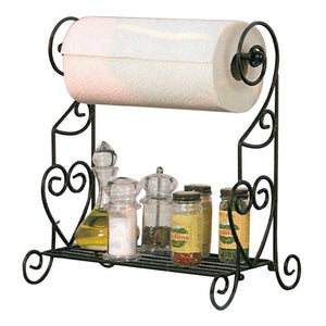 VANRA Spice Rack Kitchen Spice Stand Jars Storage Organizer with Tissue Dispenser Rack/Bathroom Paper Towel Holder & Towel Bar (Black)