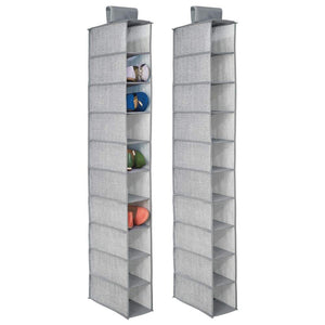 mDesign Soft Fabric Closet Organizer - Holds Shoes, Handbags, Clutches, Accessories - 10 Shelf Over Rod Hanging Storage Unit - Textured Print - 2 Pack - Gray