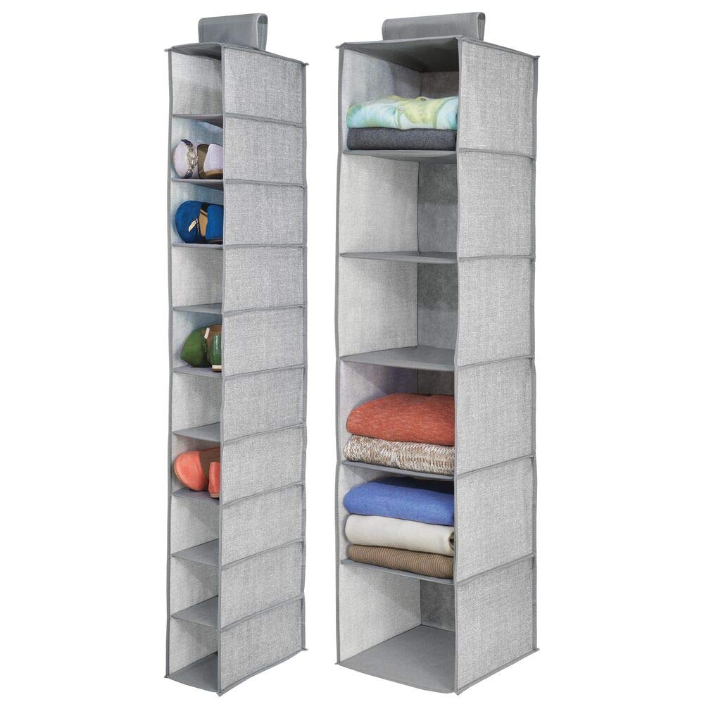 mDesign Fabric Over Rod Hanging Closet Storage Organizers, Includes a Wide 6-Shelf Sweater Organizer, and a Narrow 10-Shelf Shoe Rack - Textured Print - Set of 2 - Gray