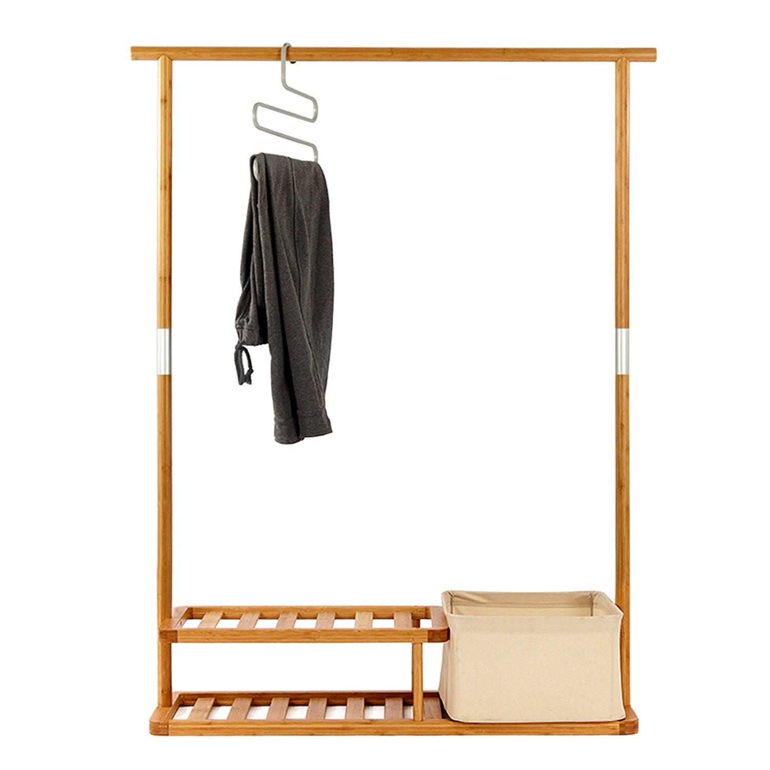 Segarty Garment Rack, Heavy Duty Bamboo Clothes Rack with 2 Tier Shoe Shelves and Laundry Basket, Commercial Hanger Drying Racks for Jacket Coat Dress Bags in Entryway and Bedroom, Natural Color