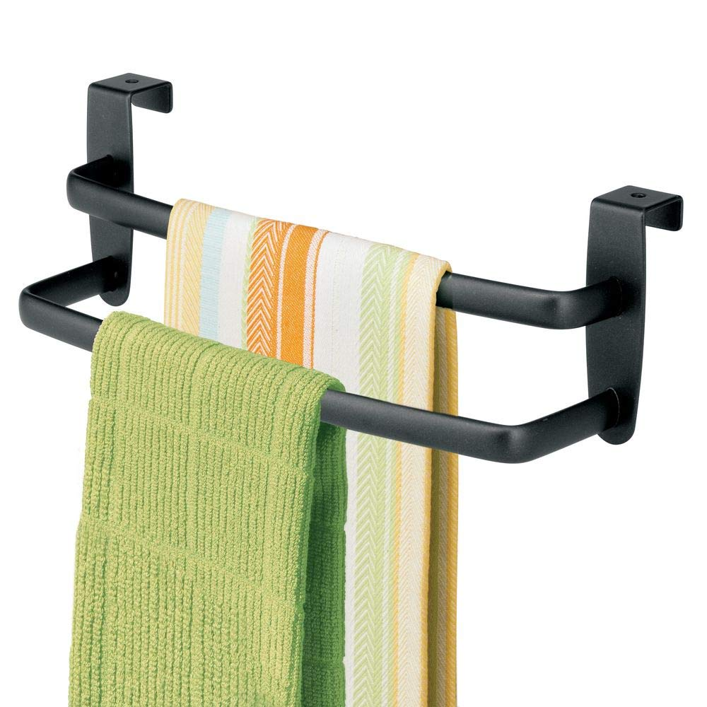 "mDesign Metal Modern Kitchen Over Cabinet Double Towel Bar Rack - Hang on Inside or Outside of Doors - Storage and Organization for Hand, Dish, Tea Towels - 9.75"" Wide, 2 Pack - Black"