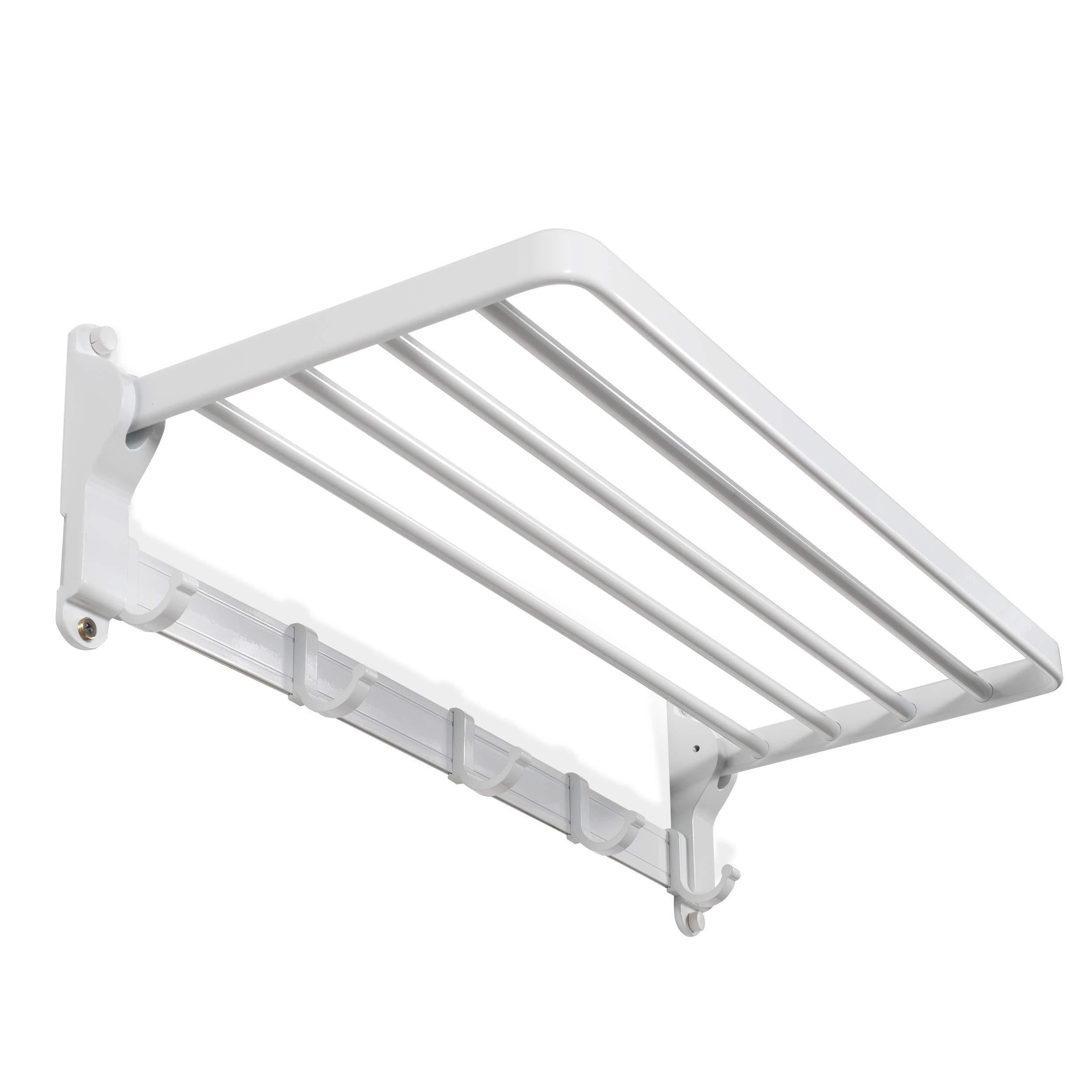 brightmaison Clothes Drying Rack Wall Mounted Folding Adjustable Collapsible (White)