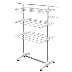 Stainless Drying Clothes Rack - Portable Rolling Drying Rack for Laundry Baby Clothes Drying Hangers Rack , Stainless  Drying Racks for Laundry, 3 Tier Drying Racks for Laundry by KP Solutions