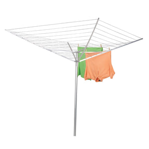 Household Essentials 17120-1 Rotary Outdoor Umbrella Drying Rack | Aluminum Arms and Steel Post | 12-Lines with 165 ft. Clothesline