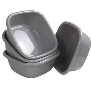 Begale 4-Pack 12 Quart Wash Basin, Gray Dish Bin