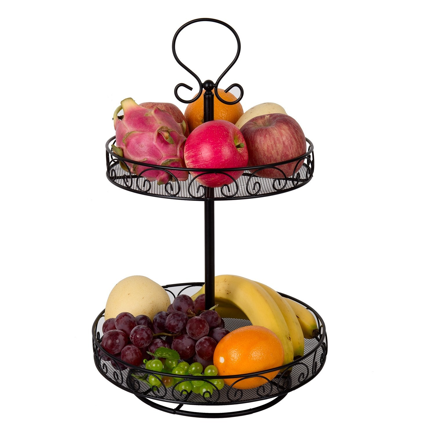 VANRA Spice Rack Kitchen Countertop Spice Stand Fruit Basket Holder Jars Storage Organizer Shelf Rack Metal Wire Fruit Bowl with Handle