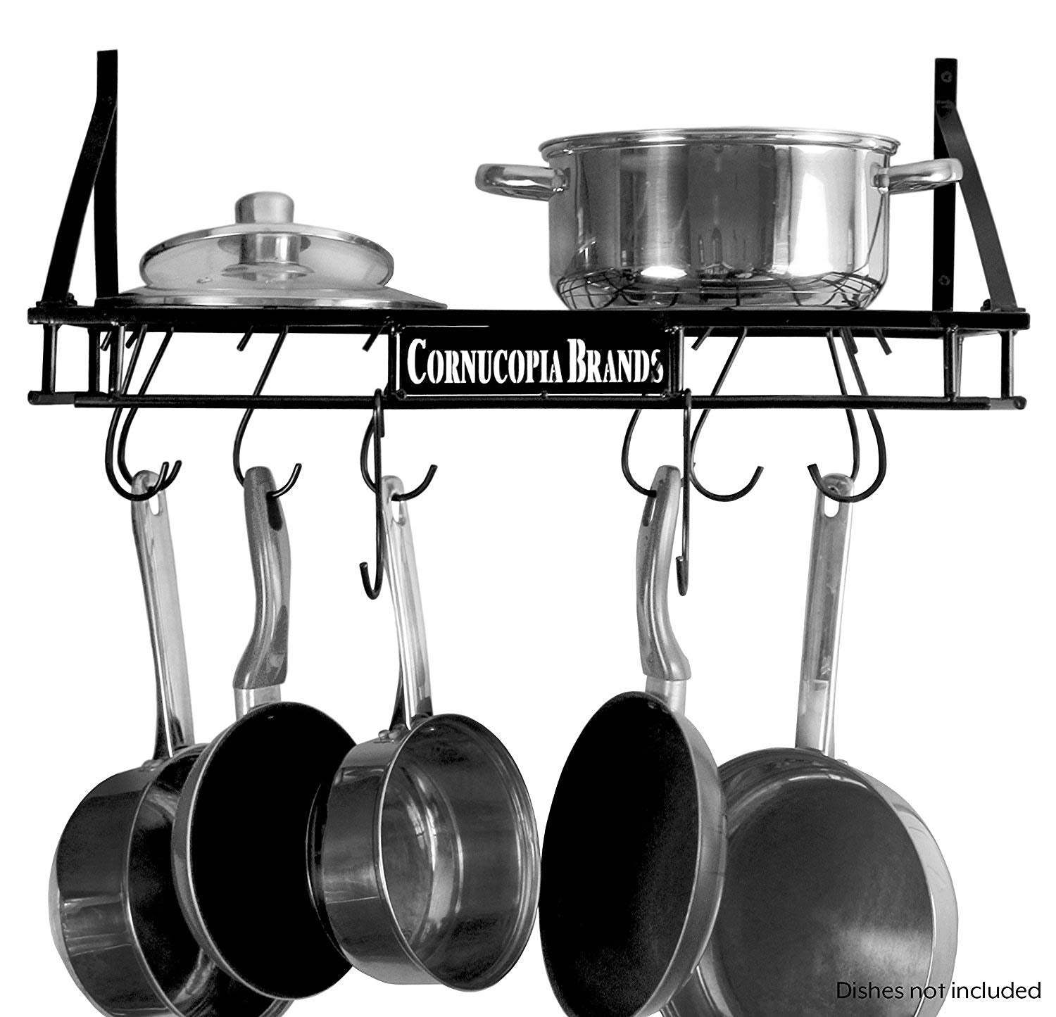 Wall-Mounted Pot Hanging Rack, 24 by 10 Inches, All-Black Decorative Kitchen Shelf w/ 10 S-Hooks