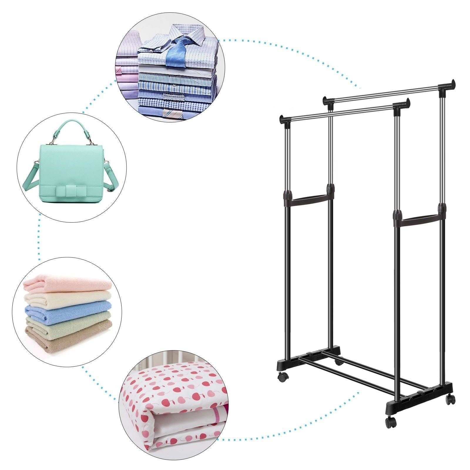Bluefringe Drying Rack Best Houseware Heavy Duty Double Rail Clothes Laundry Cloth Dryer Laundry Rack For Jacket,Dress,Towels,Shirts