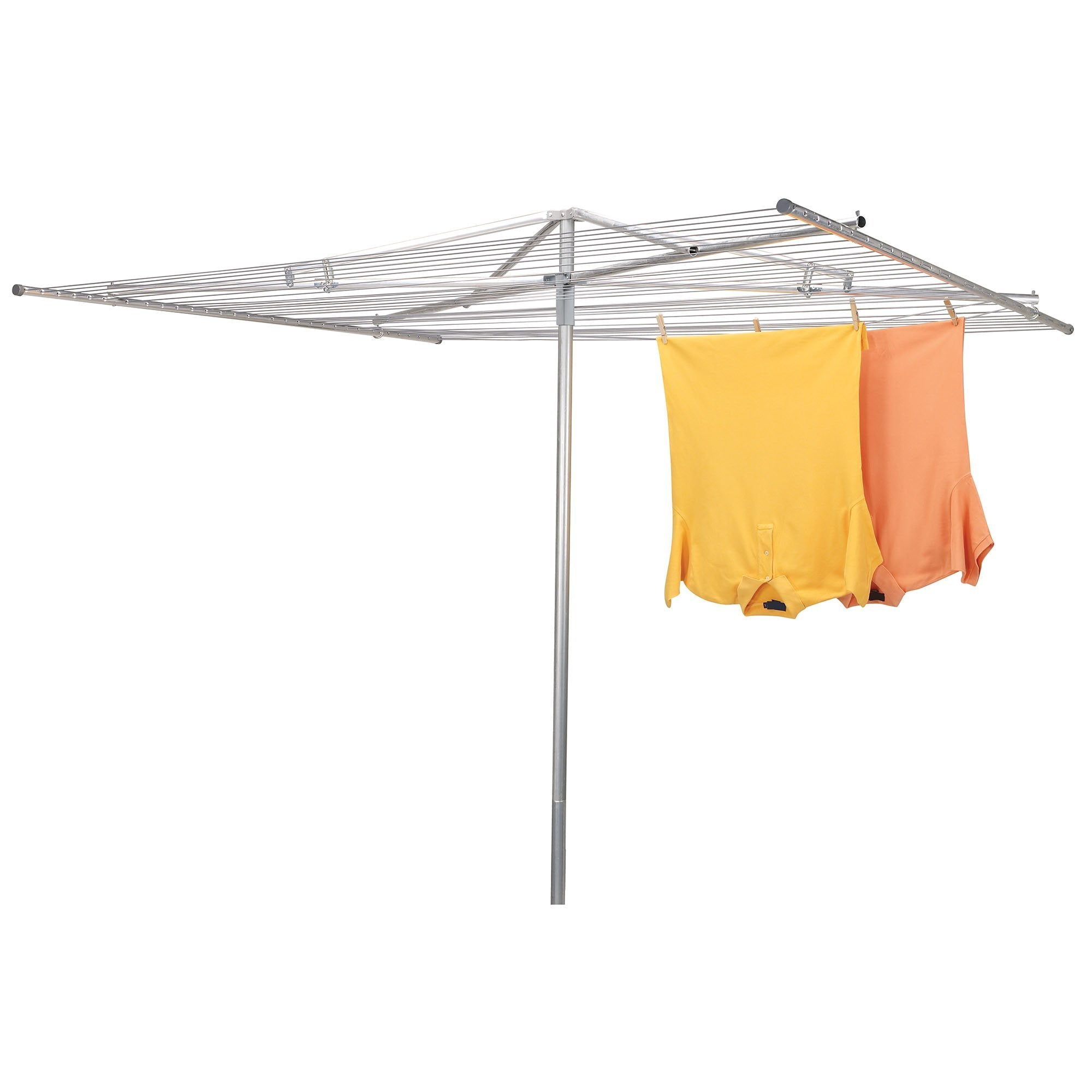 Household Essentials 17130-1 Rotary Outdoor Umbrella Drying Rack | Aluminum | 30-Lines with 210 ft. Clothesline