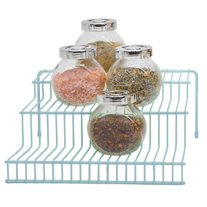 Smart Design 3-Tier Spice Rack w/Plastic Feet - Steel Metal Frame - Rust Resistant Finish - Spices, Jars, Cans Organization - Kitchen (9 x 4.25 Inch) [Light Blue]